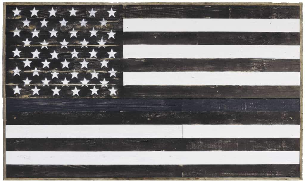 Thin Blue Line Wooden American Flag 3X5 - Picture Frame - Shop - Rustic