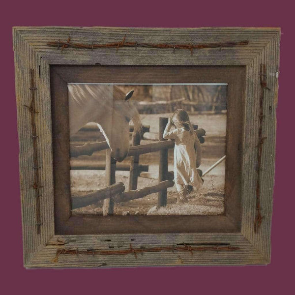 All Sizes Texas Barbwire Western Barnwood Frame - Picture - Shop - Rustic Wooden