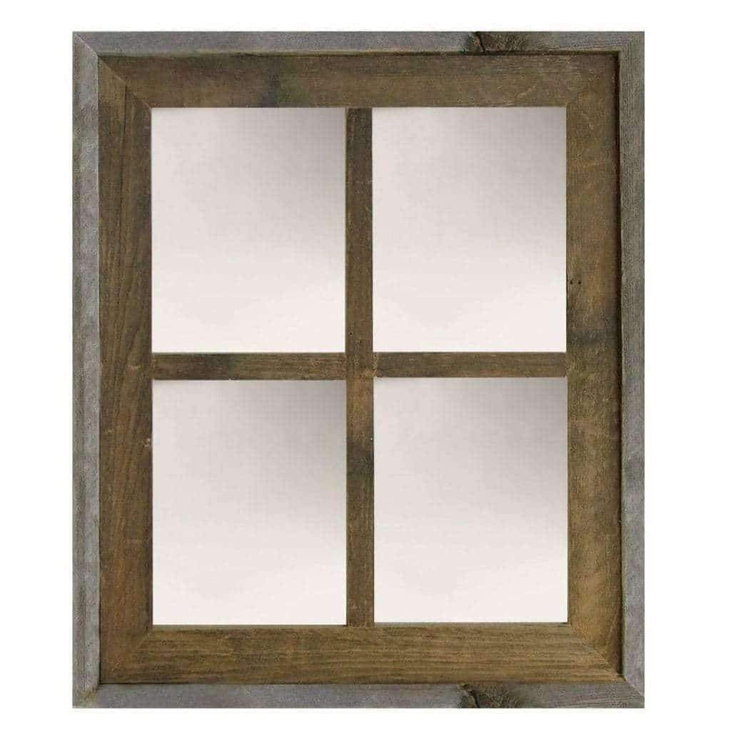 Narrow Western Large 4-Pane Barn Window Mirror - Picture Frame - Shop - Rustic Wooden