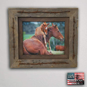 10 x 20 Texas Barbwire Western Barnwood Frame - Picture - Shop - Rustic Wooden