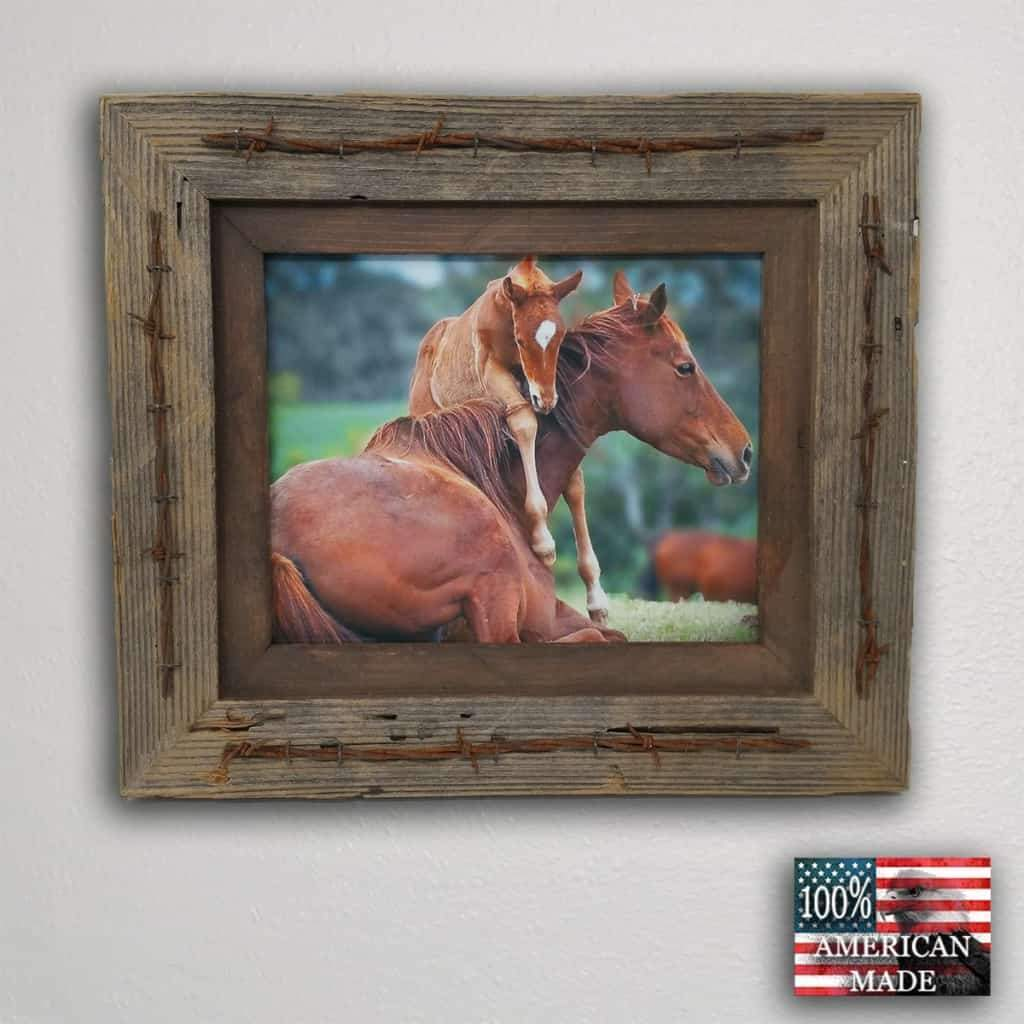 8 x 16 Texas Barbwire Western Barnwood Frame - Picture - Shop - Rustic Wooden
