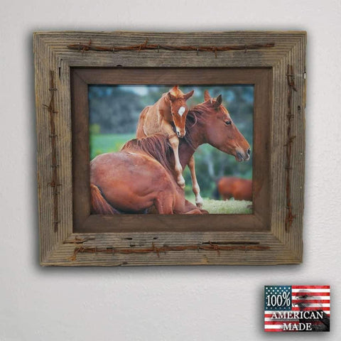24 x 36 Texas Barbwire Western Barnwood Frame - Picture - Shop - Rustic Wooden