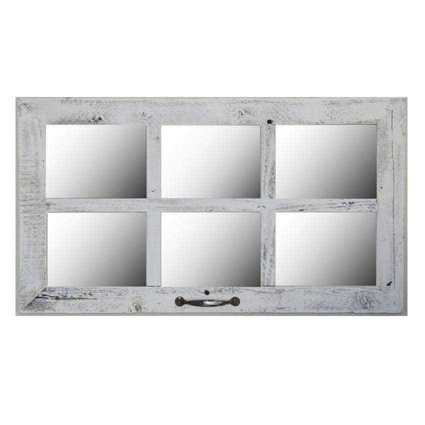 2″ Medium 6-Pane 28 x 16 Barn Window Mirror - Picture Frame - Shop - Rustic Wooden