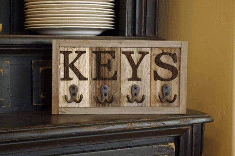Wall Mounted Rustic Authentic Barnwood Key Rack - Picture Frame - Shop - Wooden