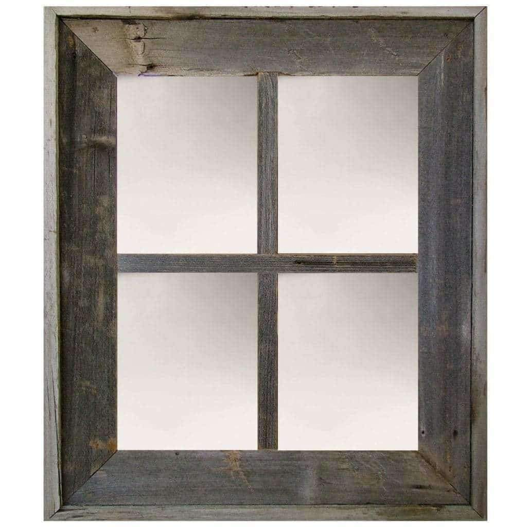 Wide Western Medium 4-Pane Barn Window Mirror - Picture Frame - Shop - Rustic Wooden