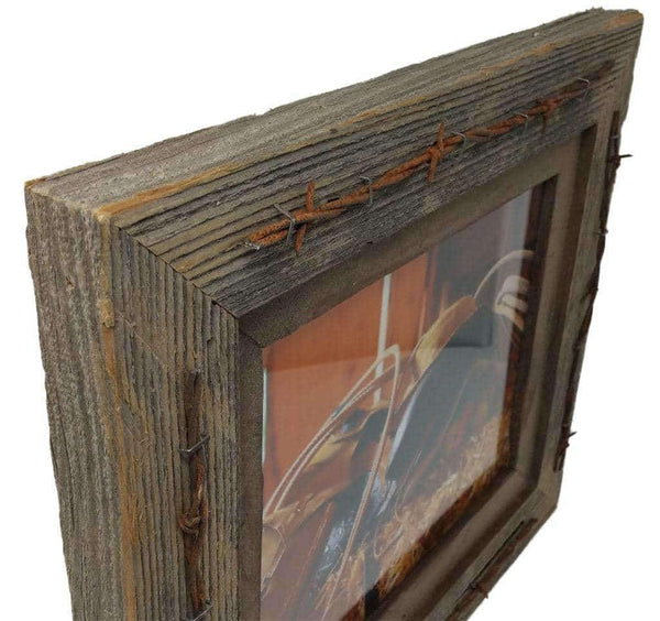 8 x 10 Texas Barbwire Western Barnwood Frame - Picture - Shop - Rustic Wooden
