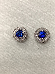 Sapphire/ Diamond Stud Earrings
