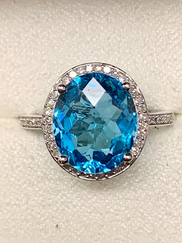 Blue Topaz/ Diamond Fashion Ring