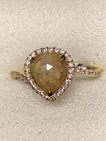 1.56ct Rough Cut Diamond Ring