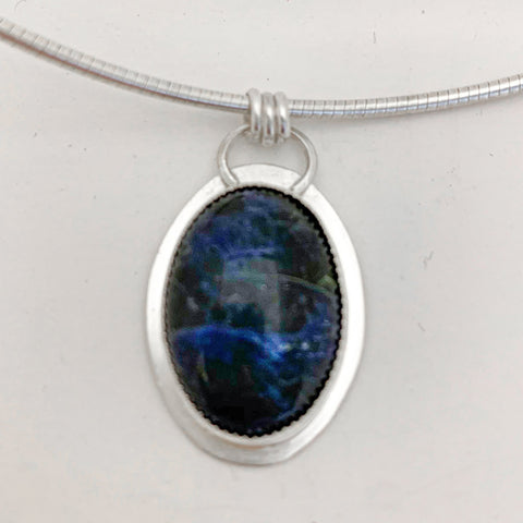 Oval Sodalite pendant on omega chain