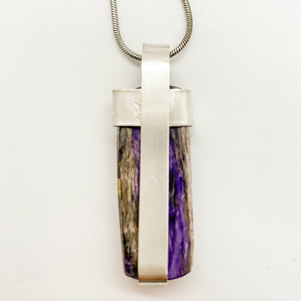 Rectangle purple Charoite with sterling silver Pendant