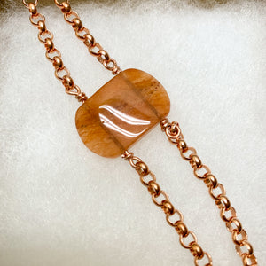 Peach aventurine copper bracelet
