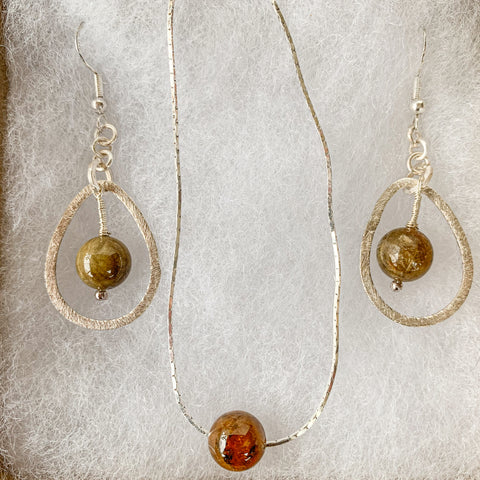 10mm amber tourmaline beads pendant & earrings on 925 sterling silver