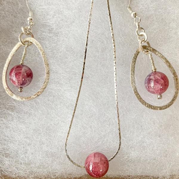 10mm pink tourmaline beads pendant & earrings on 925 sterling silver