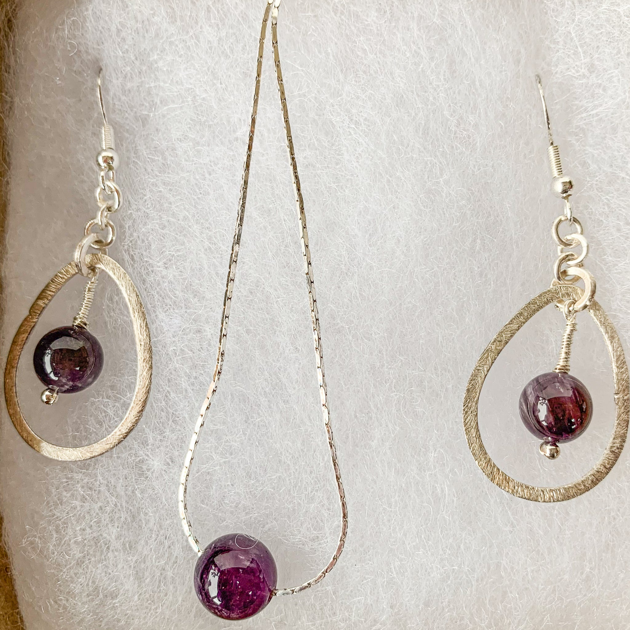 10mm amethyst beads pendant & earrings on 925 sterling silver