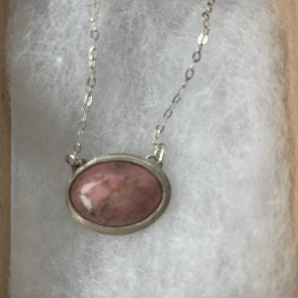 Pink frog eyes rhodonite pendant