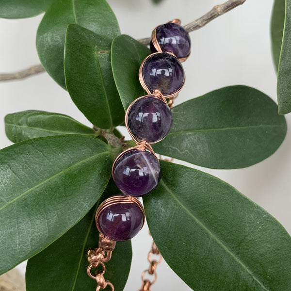 Amethyst Beads copper bracelet with copper magnet clasp