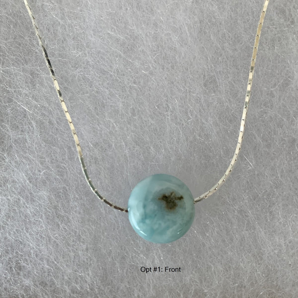 single 12mm Larimar disc on sterling silver chain