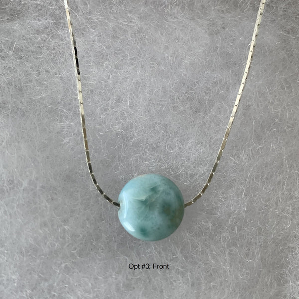 Larimar disc  on sterling silver chain