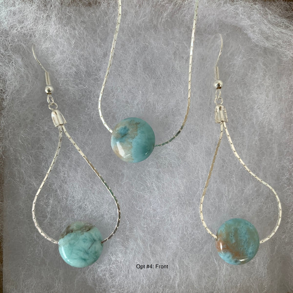 Larimar circle disc pendant and earrings on sterling silver chain