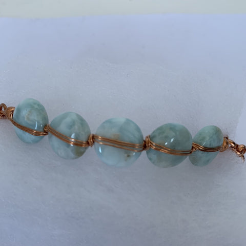 natural 12mm larimar coin with copper wires and copper rolo chain and copper magnetic clasp