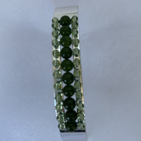 3mm canadian jade w/ 2mm peridot interlace on silver plated bangle cuff