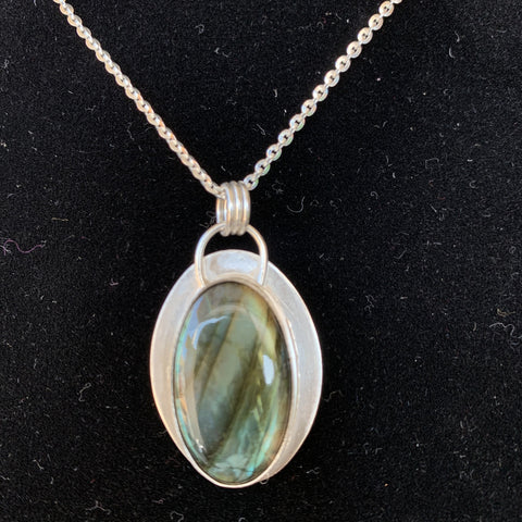 Blue Labradorite Oval Pendant on sterling silver chain