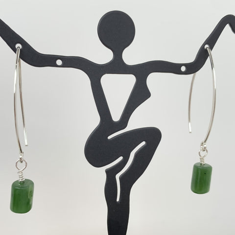 Canadian Jade tube o simple sterling silver ear wires