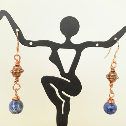 cute everyday wear 8mm Brazilian Sodalite bead wired wrap on copper bead and copper on gold filled ear wires