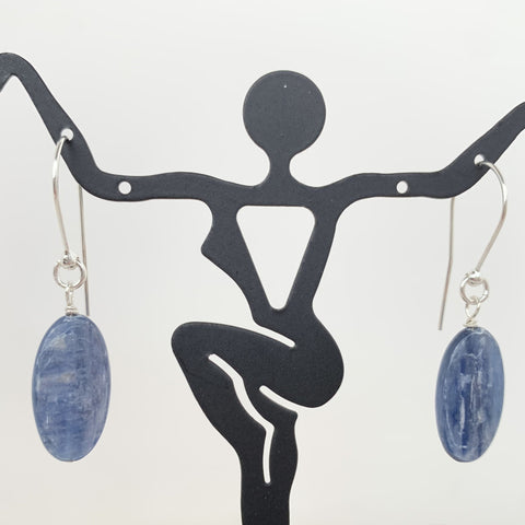 Oval light blue kyanite dangle on circle sterling silver ear wires