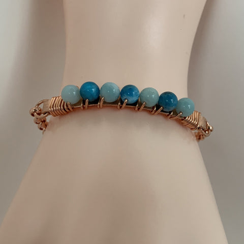 4mm Apatite & Amazonite wire wrapped on copper with copper clasp