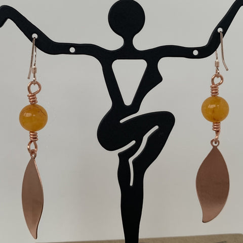 8mm Honey Jade bead wire wrapped on copper leaf with gold filled ear wire
