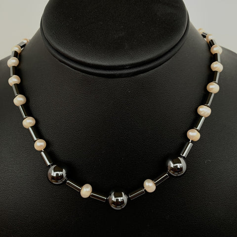 "Potatoes fresh water pearl with Hermalite bead and tube 20"" strand"