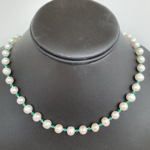 7mm AA fresh water pearl with 2mm Canadian jade individually knot with sterling silver pearl clasp