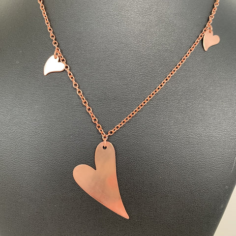 Copper hearts on copper chain with copper magnetic clasp