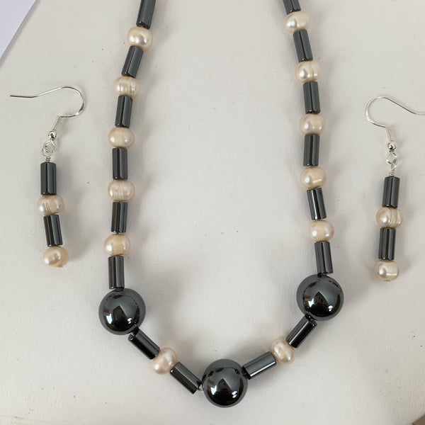 Fresh water Pearl with Hermalite strand & Earrings Set