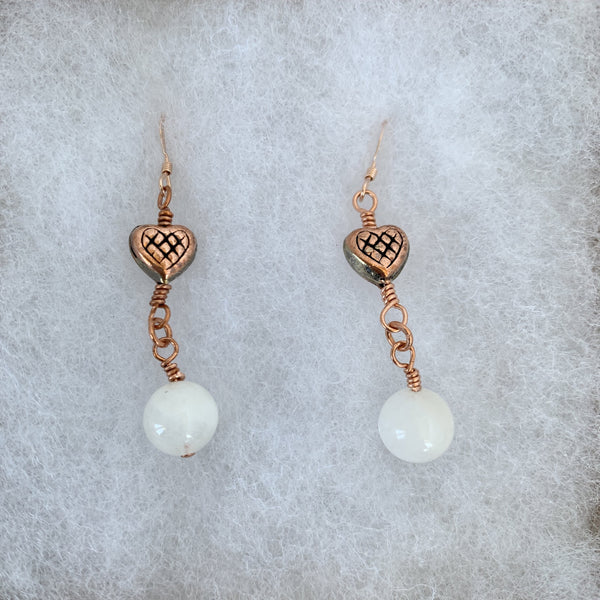 Moonstone with copper heart dangle earrings