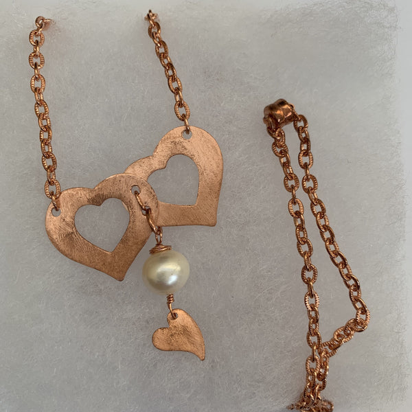 Fresh Water Pearl on Hearts copper necklace
