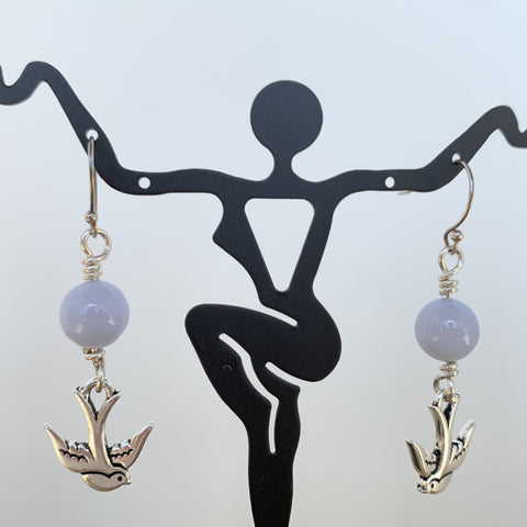 blue lace agate bead on antique silver swallow dangle on sterling silver ear wire