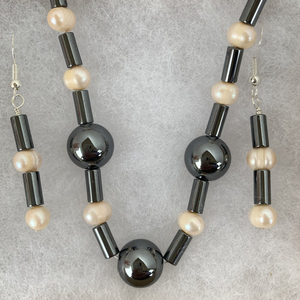 "potato fresh water pearl with hermalite bead and tube 20"" strand and dangle earrings"