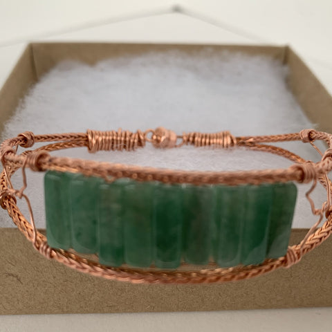 Green Aventurine copper bracelet