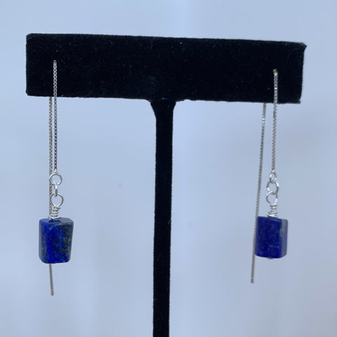 AAA blue lapis tube on sterling silver box chain ear wires