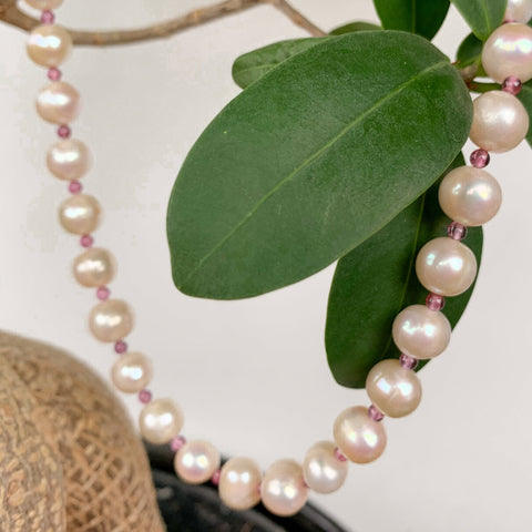 ~7mm Fresh Water Pearl with 3mm Amethyst Strand