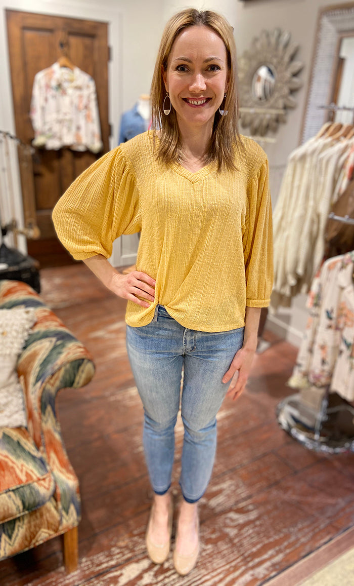 Yellow Ballon Sleeve Sweater