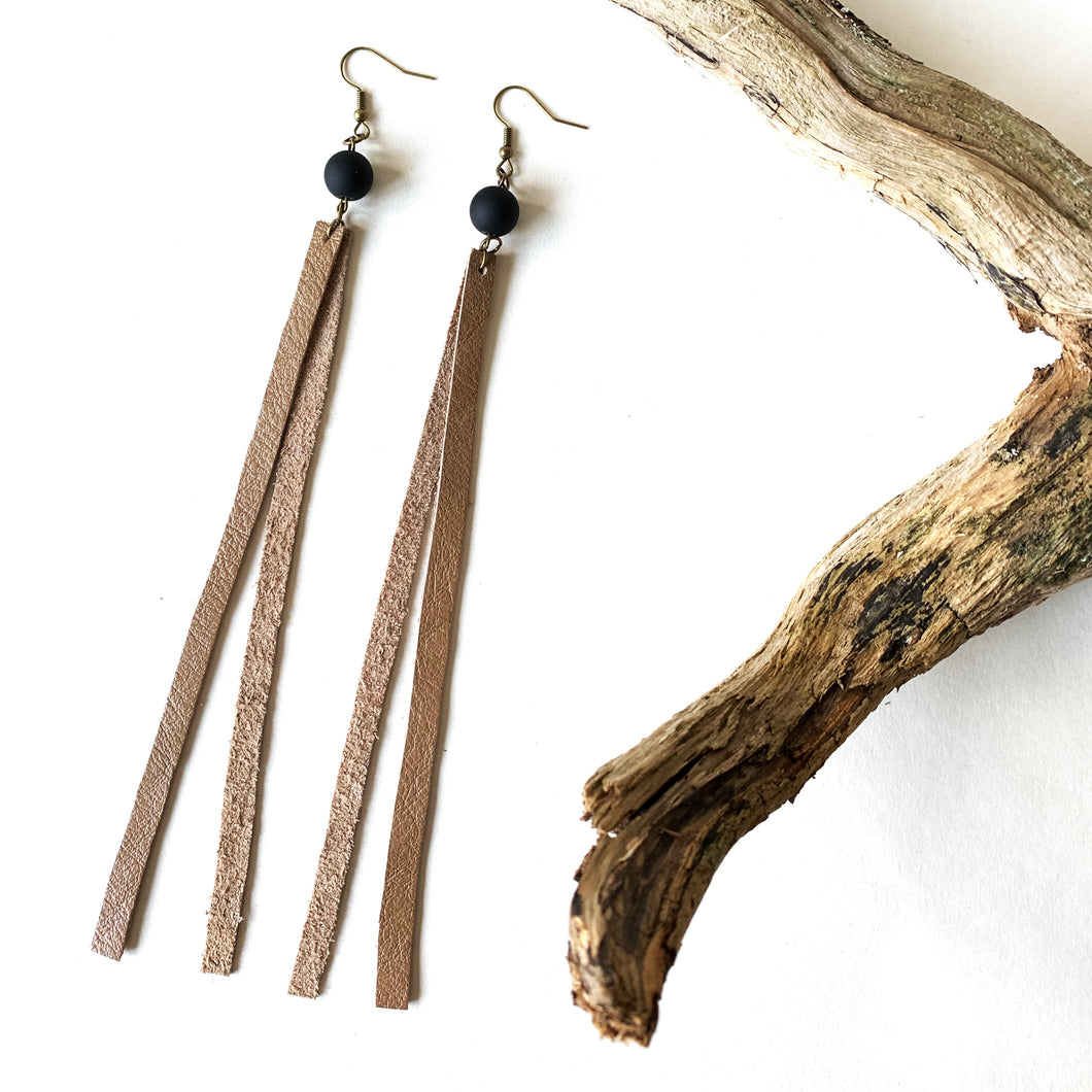 Reclaimed Earrings | Bamboo Long Fringe
