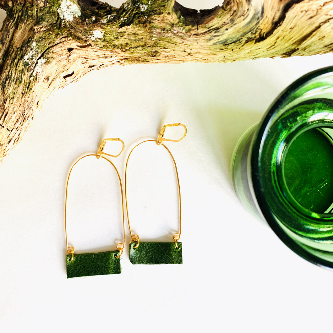 Reclaimed Leather Earrings | Bottle Narrow Arc