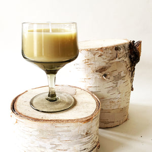 Reclaimed Beeswax Candles | Footed Smoked Glass