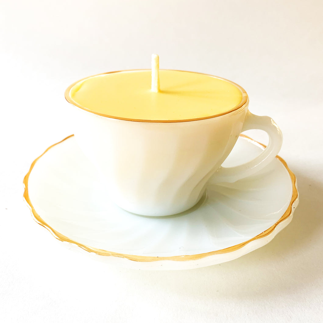 Reclaimed Beeswax Candles | Milk Glass Tea Cup & Saucer