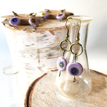 Load image into Gallery viewer, Murano Glass Reclaimed Leather Earrings