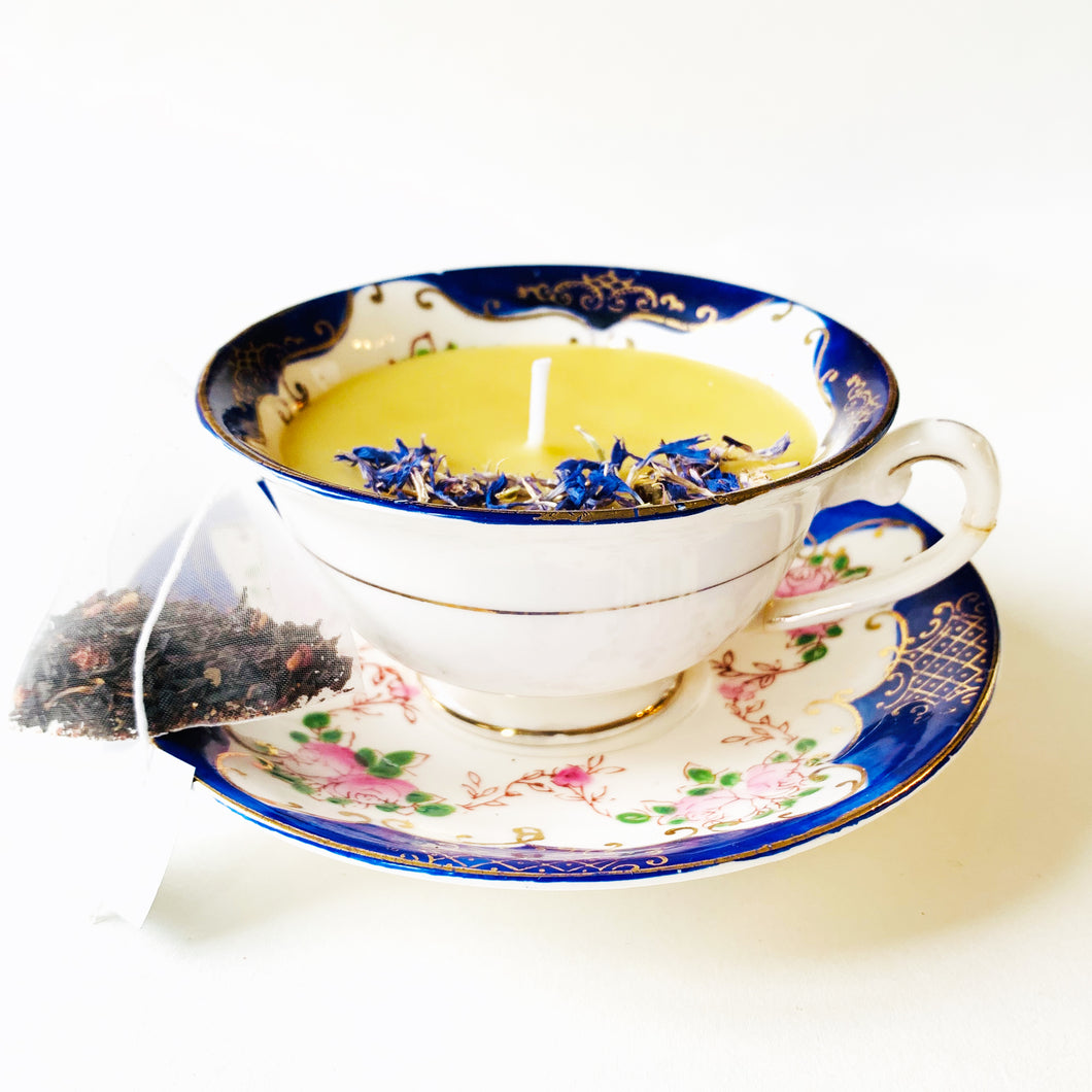 Reclaimed Beeswax Candles | Hand Painted Tea Cup